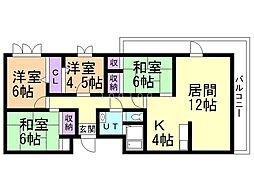 ルネッサンス末広 6階4LDKの間取り