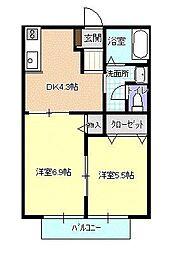 メゾン八山田A[101号室号室]の間取り