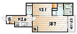 福岡県北九州市小倉北区日明5丁目の賃貸アパートの間取り