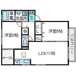 大阪府高槻市西冠2丁目の賃貸アパートの間取り