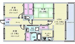 大阪府豊中市西緑丘1丁目の賃貸マンションの間取り