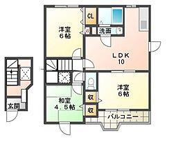 エレガンツァアロッジオI[2階]の間取り