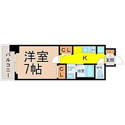 名古屋市営鶴舞線 大須観音駅 徒歩5分の賃貸マンション 4階1Kの間取り