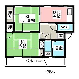 大坪飯田ビル B[1階]の間取り