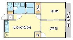 兵庫県姫路市青山6丁目の賃貸アパートの間取り