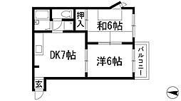 兵庫県宝塚市売布ガ丘の賃貸マンションの間取り