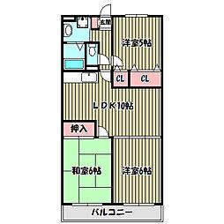 大阪府堺市中区田園の賃貸マンションの間取り
