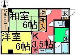 東京都江戸川区松江1丁目の賃貸マンションの間取り