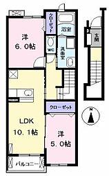愛知県あま市本郷取替の賃貸アパートの間取り