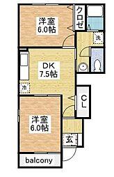 カルム尾崎B[1階]の間取り