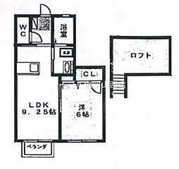 岡山県岡山市北区奉還町3の賃貸アパートの間取り