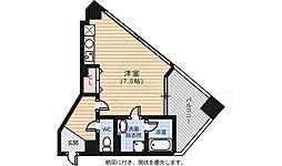 広島電鉄5系統 南区役所前駅 徒歩7分の賃貸マンション 6階ワンルームの間取り