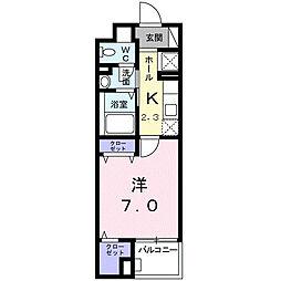 ソレイユ・イーストブリッジ 4階1Kの間取り