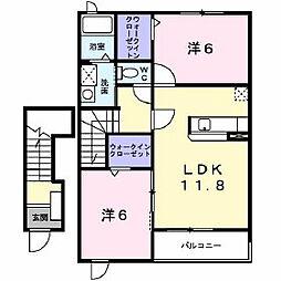 長野県千曲市大字上徳間の賃貸アパートの間取り