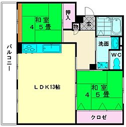 美室団地4号棟[1階]の間取り