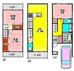 京阪本線 千林駅 徒歩4分の賃貸一戸建て 1階3LDKの間取り