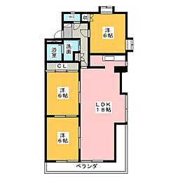 横川パークヒルズ[3階]の間取り