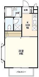 神奈川県横浜市青葉区新石川2丁目の賃貸アパートの間取り