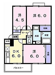 東京都昭島市美堀町2丁目の賃貸マンションの間取り
