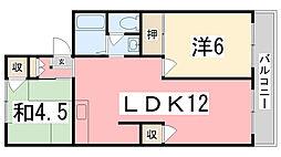 パレーシャル多田[201号室]の間取り