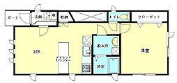 JR奥羽本線 神町駅 徒歩7分の賃貸アパート 1階1LDKの間取り