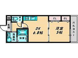 フジパレスフィオーレ八戸ノ里 1階1DKの間取り