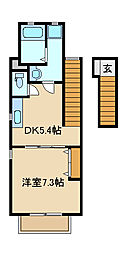 兵庫県姫路市飾磨区上野田5丁目の賃貸アパートの間取り