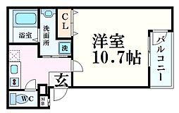 阪急神戸本線 西宮北口駅 徒歩9分の賃貸アパート 3階1Kの間取り