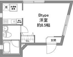 京王線 上北沢駅 徒歩6分の賃貸マンション 3階1Kの間取り