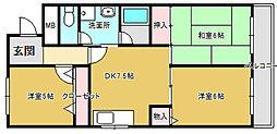 堺東コーポ南館[3階]の間取り