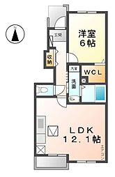 愛知県稲沢市緑町1丁目の賃貸アパートの間取り