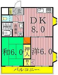 千葉県松戸市平賀の賃貸マンションの間取り
