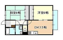 岡山県倉敷市帯高の賃貸アパートの間取り
