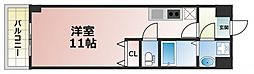 パーラム高殿 6階ワンルームの間取り