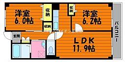 岡山県総社市中央1丁目の賃貸マンションの間取り