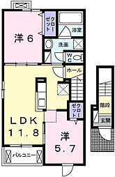 兵庫県姫路市大津区天神町2丁目の賃貸アパートの間取り