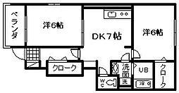 大阪府岸和田市土生町2丁目の賃貸アパートの間取り