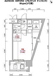 福岡市地下鉄箱崎線 呉服町駅 徒歩12分の賃貸マンション 6階1Kの間取り