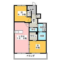 三重県鈴鹿市桜島町6丁目の賃貸アパートの間取り