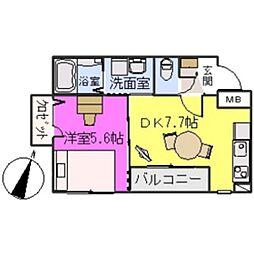 福岡県福岡市博多区住吉の賃貸マンションの間取り