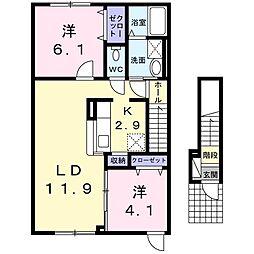 北海道札幌市東区北四十条東18丁目の賃貸アパートの間取り