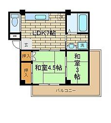 兵庫県神戸市須磨区北町1丁目の賃貸マンションの間取り