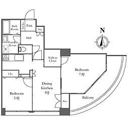 リバーシティ21イーストタワーズII 26階2LDKの間取り