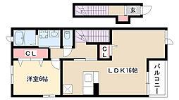 愛知県名古屋市南区星崎町字阿原の賃貸アパートの間取り