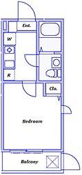 JR横浜線 十日市場駅 徒歩8分の賃貸アパート 1階1Kの間取り