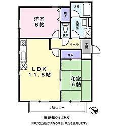 兵庫県姫路市飾磨区英賀西町2丁目の賃貸アパートの間取り