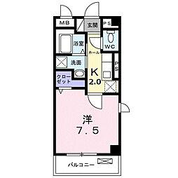 東急田園都市線 長津田駅 徒歩10分の賃貸マンション 3階1Kの間取り