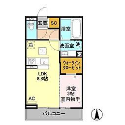 JR中央本線 岡谷駅 バス16分 今井西下車 徒歩6分の賃貸アパート 2階1LDKの間取り