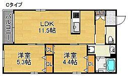 ティーグル墨江 3階2LDKの間取り