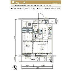 JR埼京線 北赤羽駅 徒歩13分の賃貸マンション 2階2Kの間取り